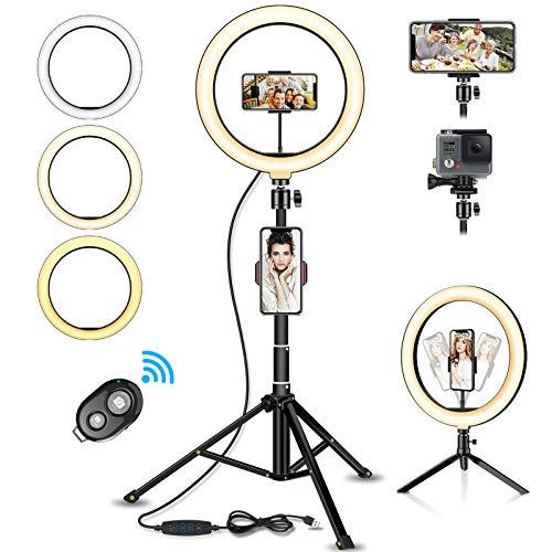 SYOSIN LED Ringlicht Stativ mit Fernbedienung, 10.2' Selfie Ringleuchte Doppel-Handyhalter mit 3 Farbe und 11 Helligkeitsstufen für YouTube TikTok Self-Porträt der...