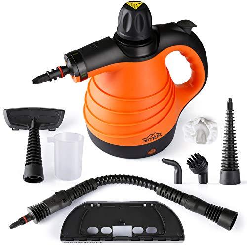 SIMBR Dampfreiniger, tragbar Handdampfreiniger, Hochdruckreiniger, Dampfsauger mit 350ml Tank, 9 Zubehör für Küche, Bad, Auto, Fenster, Matratze, Vorhänge,...
