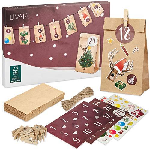 LIVAIA Adventskalender zum Befüllen: Schöner 2021 Adventskalender zum Selbstbefüllen mit 24 Tüten, Stickern und Zahlen Aufkleber – DIY Adventskalender zum...