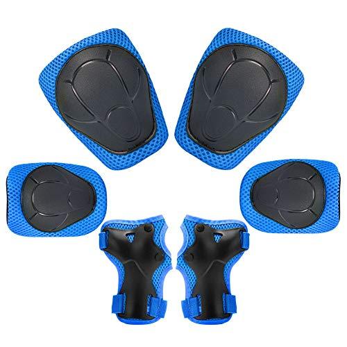 Kinder Knieschoner Set 6 in 1 Schutzausrüstung Kinder Knieschützer Ellbogenschützer Set Schutzausrüstung Set für Skateboard Radfahren Roller Skating Radfahren...