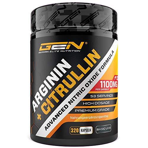L-Arginin + L-Citrullin - 320 Kapseln - 1100 mg pro Kapsel - Citrullin 2:1 + Arginin Base 1:1 Verhältnis - Premium Aminosäuren - Laborgeprüfte Qualität - German...