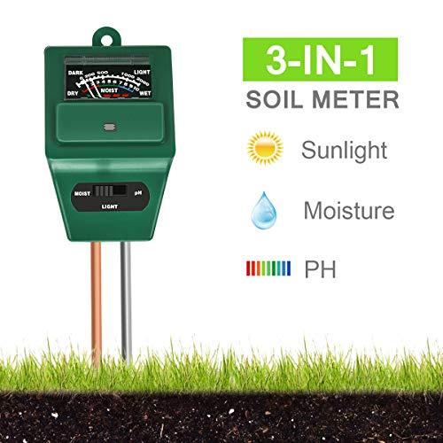 Xddias Bodentester, 3 in 1 Bodenmessgerät für Pflanzen, Boden Feuchtigkeit pH Lichtstärke Meter Tester für Pflanzenerde, Gartenbau, Bauernhof, Rasenpflege, Keine...