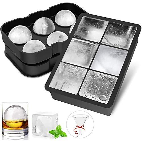 FYLINA Eiswürfelform 45mm Eiskugelform 48mm 6-Fach 2-Set Eiswürfelbehälter Silikon Eiswürfelformen Ice Cube Tray Eiswürfel Form BPA Frei für Whisky Cocktails...