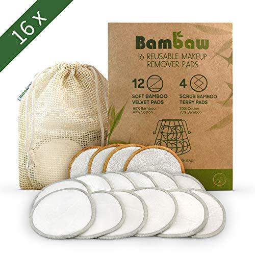 Waschbare Abschminkpads| 16 Abschminktücher aus Bambus & Baumwolle mit Wäschebeutel | Umweltfreundlich | Wattepads wiederverwendbar | Gesichtsreinigung | Zero...