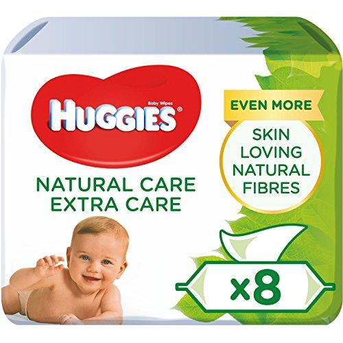 Huggies Natural Care Extra Care, sanfte Baby-Feuchttücher mit Aloe Vera, 8 x je 56 Tücher, Großpackung