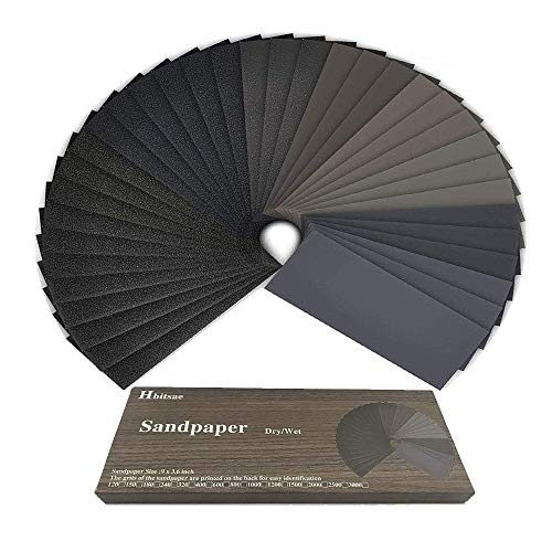 Schleifpapier 120 bis 3000 Körnung Trocken Nass 9 x 3,6 Zoll, Schleifpapier Zum Polieren von Metall, Holz, Autos (42 Stück)