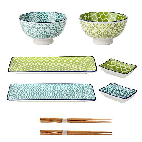 Sushi Set porzellan, vancasso MACARON japanische Ess Service , 8-teilig Geschirr-Set für 2 Personen