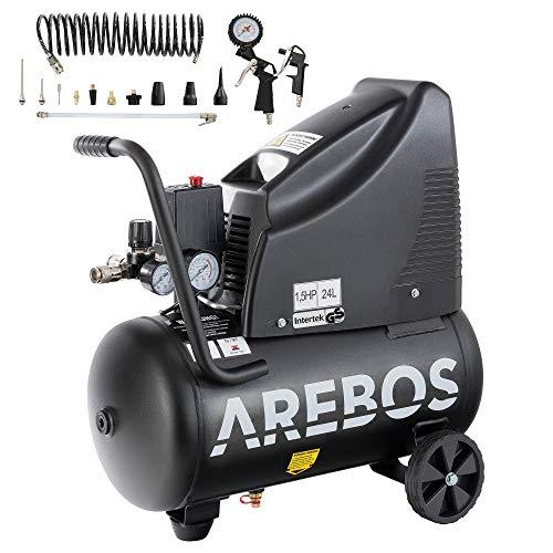 Arebos Druckluftkompressor   Kompressor   ölfrei   1100W   24 L   8 bar   Ansaugleistung 165 L/min,   Druckminderer   inkl. 13-teiligem Druckluft-Werkzeug-Set + 5 m...