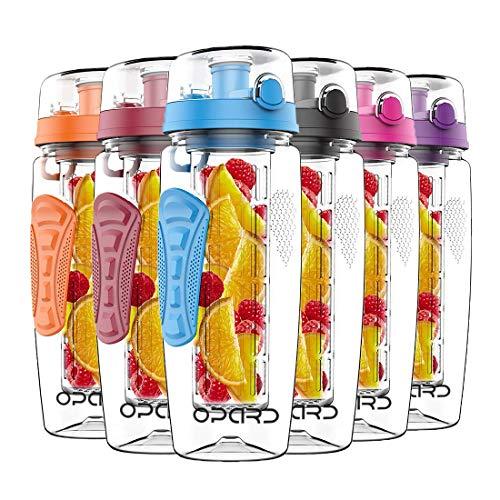 Opard Trinkflasche mit Früchtebehälter 946ml Wasserflasche mit fruchteinsatz Infuser Sports Water Bottle Tritan BPA-frei Flasche mit Rezept und Pinsel (Schwarz,...