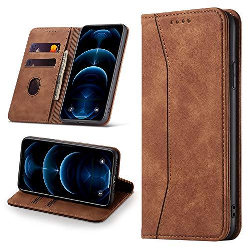 Leaisan Handyhülle für iPhone 12/iPhone 12 Pro Hülle Premium Leder Flip Klappbare Stoßfeste Magnetische [Standfunktion] [Kartenfächern] Schutzhülle für iPhone...