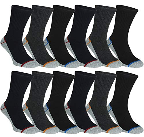 BestSale247 6 or 12 pairs of men's thermal socks, cotton, warm, thick winter sports ski work socks, black, full terry, size 39-42; 43-46, 12 pairs | Color mix, 39-42