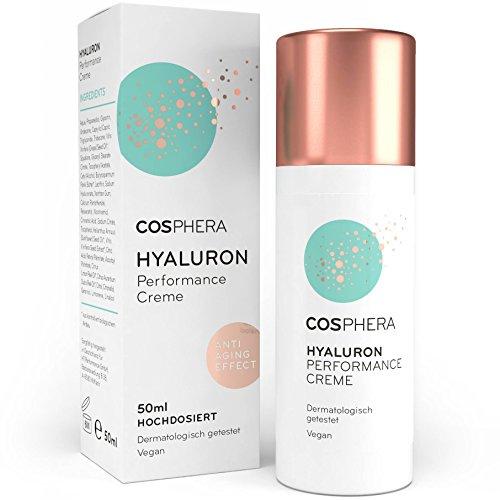 Cosphera - Hyaluron Performance Creme 50 ml - vegane Tages- und Nachtcreme hochdosiert für Gesicht, Hals, Dekolleté, Augen - Anti-Falten Feuchtigkeitsbehandlung...