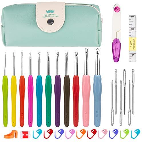 Luxebell Häkelhaken Set Bunte Ergonomische Soft Gummi Comfort Grip Häkeln Stricken Nadeln Kit Haushalt Werkzeug mit tragbaren Tasche
