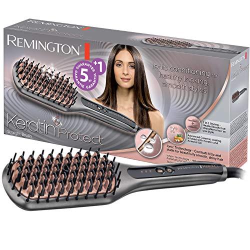 Remington Glättbürste Keratin Protect Ionen 2in1: Glätteisen & Haarbürste für eine reduzierte Stylingzeit (Keratin-Keramikbeschichtung mit Mandelöl...