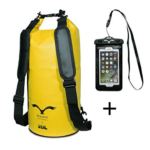 HAWK OUTDOORS Dry Bag - wasserdichter Packsack mit gepolsterten Schulter-Gurten inklusive wasserdichter Handy-Hülle - 20L - Stausack Seesack - Wasserfester Rucksack...