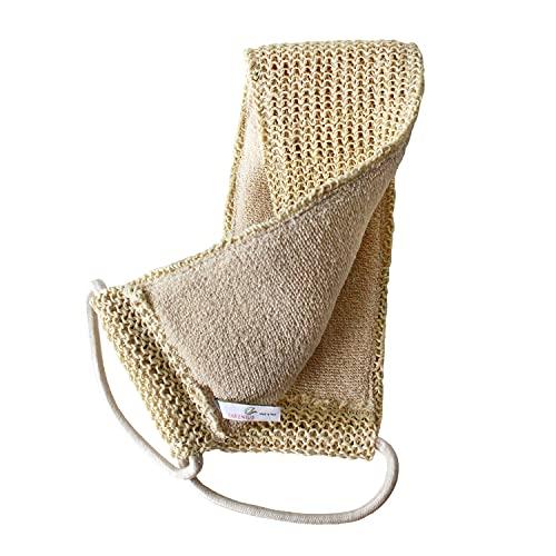 Massagegurt 2-seitig - Rückenschrubber für Körperpeeling, Rückenmassage und Trockenmassage - Bio-Sisal und Baumwolle.