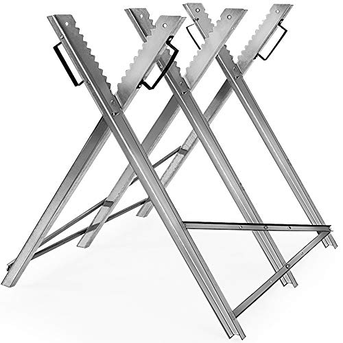 Monzana sawhorse metal 83x81x88cm galvanized 150kg saw frame wood sawhorse saw chain sawhorse wood frame