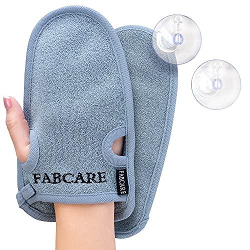 FABCARE Peelinghandschuh - DERMATEST SEHR GUT - 2 Stück - Reinigt Porentief für Körper & Gesicht - Duschschwamm für Peeling & Body Scrub - BONUS 2 Saugnäpfe &...