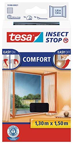 tesa Insect Stop COMFORT Fliegengitter Fenster - Insektenschutz mit Klettband selbstklebend - Fliegen Netz ohne Bohren - anthrazit (durchsichtig), 130 cm x 150 cm