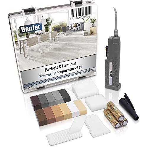 BENLER NEU! - Holz Reparaturset mit 2in1 Wachsschmelzer für Laminat Parkett und Vinylboden - Holzkitt auch für PVC, Kunststoff und Arbeitsplatte - Hartwachs Grau...