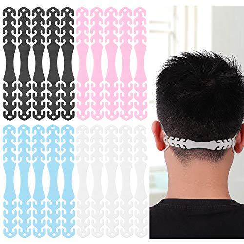ZITFRI 20Pcs Maskenhalter verstellbar Mundschutzverlängerung Anti-Rutsch Ohrhaken gegen Ohrenschmerzen, mit Einstellschnallen, waschbar, 4 Farbe Maskenhaken
