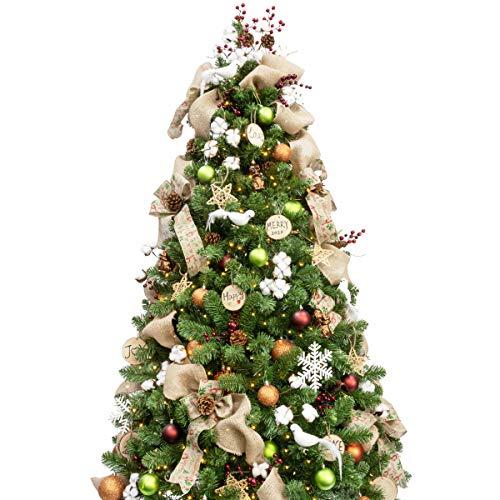 210cm Künstlicher Weihnachtsbaum mit 360 LED-Lichtern und 172 Ornamenten Woodland Weihnachtsschmuck, einschließlich voller künstlicher Christbaumkugeln,...
