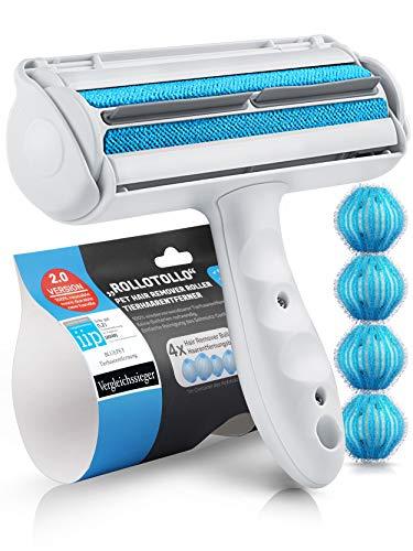 Bluepet® RolloTollo 2.0 Selbstreinigende Fusselrolle - Tierhaarentferner für Haustierhaar, Entfernung Tierhaar von Sofa, Bett & Möbel, Fusselbürste Hundehaare &...