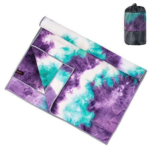 adorence Yoga Handtuch rutschfest Noppen (verbesserte PVC-Griffe + Seitentaschen) Mikrofaser Schweißabsorbierend & Schnelltrocknendes Mattenhandtuch - Ideal für...