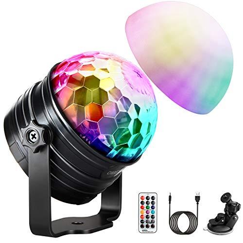 LED Discokugel Kinder OMERIL Discolicht Musikgesteuert Disco Lichteffekte RGB Partylicht, Zeitgesteuertes USB Stimmungslicht mit 7 Farben, 4 Helligkeiten und...
