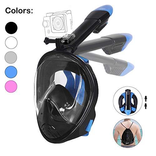 Unigear Tauchmaske, Faltbare Schnorchelmaske Tauchermaske Vollgesichtsmaske, mit Kamerahaltung, Anti-Fog Anti-Leck, für Erwachsene und Kinder (Schwarz-1, L/XL)