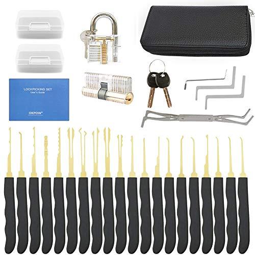 OKPOW Lockpicking Set 28-teiliges Lockpicking Kit mit 2 Transparenten Übungsschlössern und Anleitung für Anleitung für Schlosserei Anfänger und Profisrleicht...