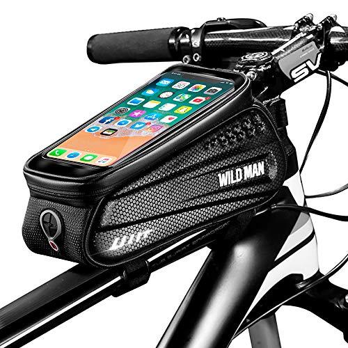 Cheftick Fahrrad Rahmentasche, wasserdichte Fahrradtasche, Fahrrad handyhalterung, Großer Stauraum Touchscreen-Handytasche mit Kopfhörereingang für jedes...