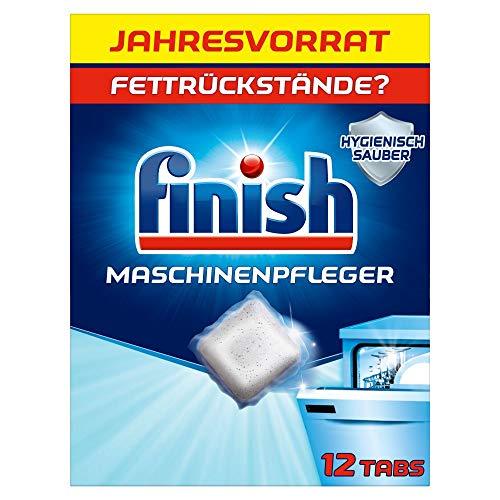 Finish Maschinenpfleger Tabs – Spülmaschinentabs gegen Schmutz und Fett im Inneren der Spülmaschine – Jahresvorrat mit 12 Geschirrspülreiniger Tabs