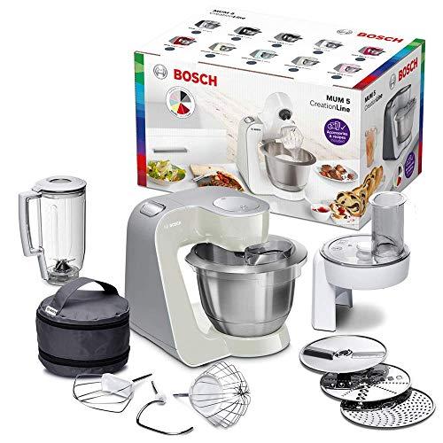 Bosch MUM5 CreationLine Küchenmaschine MUM58L20, Testsieger, vielseitig einsetzbar, große Edelstahl-Schüsssel (3,9l), Durchlaufschnitzler, 3 Scheiben, Mixer, 1000...