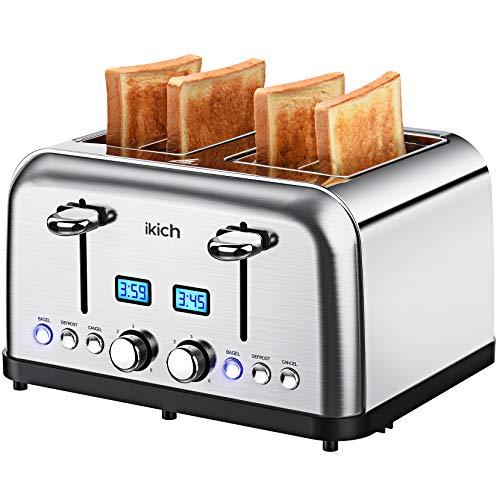 IKICH Scheiben, Edelstahl Toaster 1750W mit 2 LCD-Countdown-Anzeige, 3.5CM Breiten Schlitzen, 6 bräunungsstufen und 4 Moden (Bagel, Auftau, Aufwärm sowie...