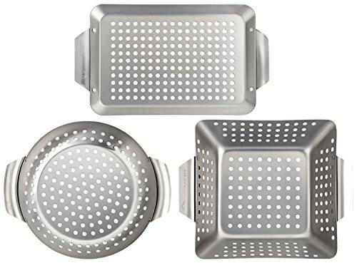 HEIMWERT Hochwertiges Premium Edelstahl Grillkorb 3er Set - Die hochrobusten und universell einsetzbaren Grillschalen - Das Original