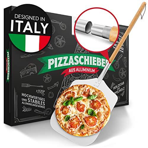Pizza Divertimento® Pizzaschieber - Pizzaschaufel aus rostfreiem Aluminium [83 cm]- Praktisches & solides Gewinde - Pizzaheber mit abgerundeten Kanten