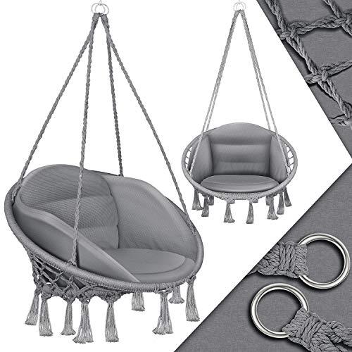 KESSER® Hängesessel mit Kissen - Chill Hängestuhl zum Aufhängen für Erwachsene & Kinder Hängematte bis 150 kg Hängesitz Aufhängung Indoor & Outdoor Wohn &...
