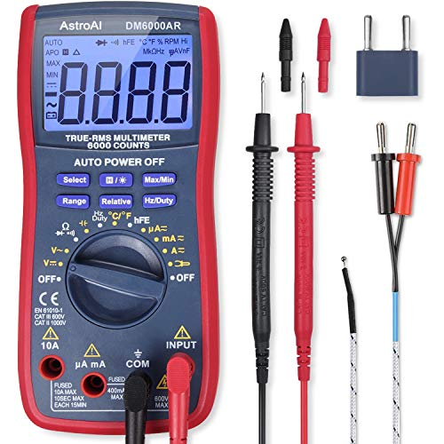 AstroAI Digital Multimeter, True RMS 6000 Counts Advanced Multimeter, messen AC/DC Spannung, AC/DC Strom, Widerstand, Kontinuität, Kapazitanz, Frequenz, Tests...