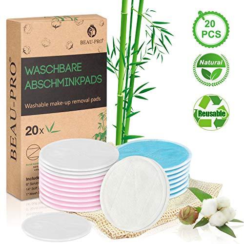 Waschbare Abschminkpads Wiederverwendbare Wattepads - 20 Abschminktücher aus Bambus & Baumwolle mit Wäschebeutel - Makeup Entferner Pads - Superweich...