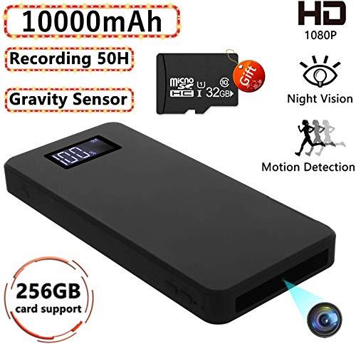 1080P Tragbare Kleine Überwachungskameras 10000mAh Powerbank Kamera mit Nachtsicht Bewegungserkennung Nanny-Videokamera Schwerkraftsensor Loop-Aufnahme (32 GB...