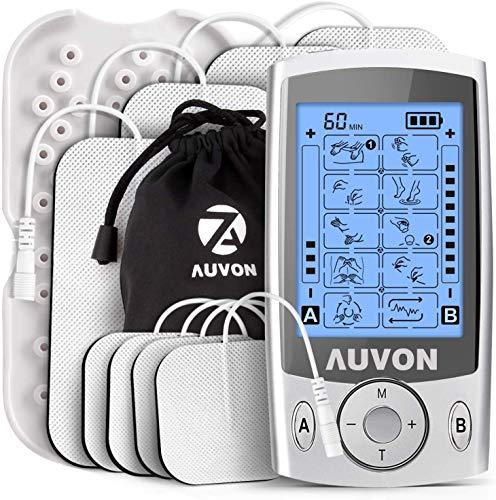 AUVON TENS Gerät, 2 Kanäle TENS EMS Reizstromgerät mit 20 Trainigsprogramme und 8 Stück Premium Elektroden Pads zur Schmerzlinderung von Knicken am Rücken,...