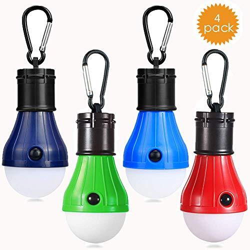 Camping LED Campinglampe mit Karabiner JTENG Camping Lantern 4 Stücke Zeltlampe Glühbirne Set Camping Lampen wasserdicht Rucksack Licht für Abenteuer, Angeln
