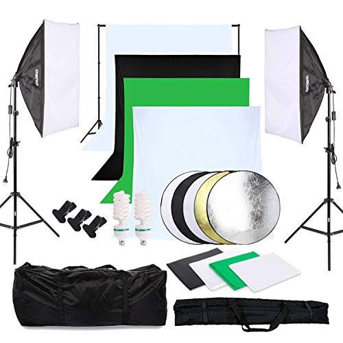 OUBO Fotostudio Set 4X Hintergrundstoff (schwarz, 2X weiß, grün), Softbox Studioleuchte Studiosets für Anfänger, Hintergrund Fotoleinwand inkl. 5in1 Reflektor...