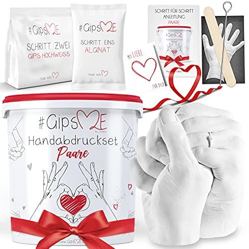 GipsME 3D Handabdruck Set für Paare - Alginat Gipsabdruckset - Partner und Pärchen Geschenke für Erwachsene als Muttertag, Hochzeitstag, Jahrestag-Geschenk für...