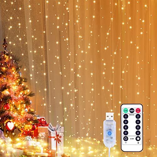 Yizhet Lichtervorhang 3x3m LED Lichterkette LED Lichterkettenvorhang mit 8 Modi, IP65 Wasserdicht Deko für Weihnachten, Partydekoration, Innenbeleuchtung (300LED,...