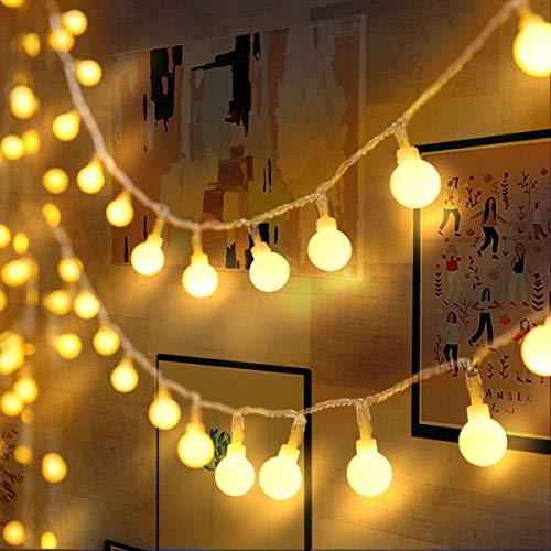 Lichterkette 120er LEDs Kugel Lichterkette Innen/Außen, LOFTer 15M Globe Lichterkette Warmweiß mit 8 Leuchtmodis, Wasserdicht Deko Lichterkette Strombetrieben für...