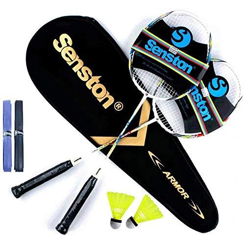Senston Graphit Badminton Set Carbon Profi Badmintonschläger Leichtgewicht Badminton Schläger Federballschläger Set für Training, Sport und Unterhaltung mit...