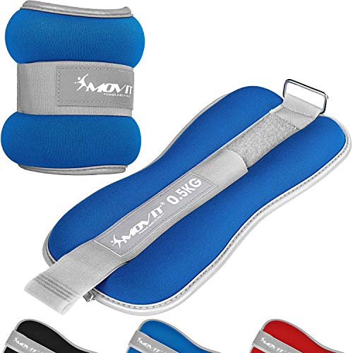 Movit Set of 2 weight neoprene cuffs with terry inside and reflector material, 2X 3,0kg in blue, barrel weights for wrists and ankles