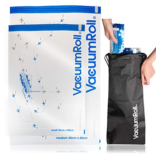 Reise Vakuumbeutel zum Rollen per Hand 12 Stück + 1 Nylonpacktasche Transparent mit Flugradarmotiv, Vakuum Kompressionsbeutel Reise , platzsparend packen für...
